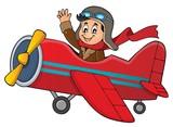 Pilot in retro airplane theme image 1