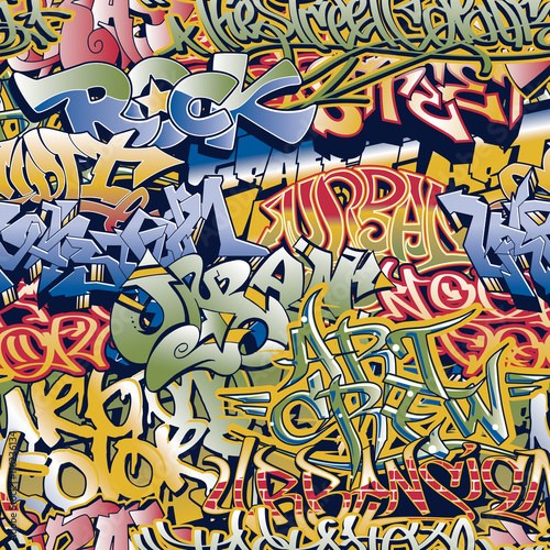 Urban graffiti vector seamless pattern