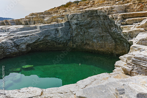 Amazing view of Giola Natural Pool in Thassos island, East Macedonia and Thrace, Greece