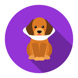Sick dog vector icon flat. Singe pet icon from the big dog collection - stock vector