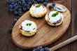 Mini Cheesecakes and Fresh Blueberries with whipped cream