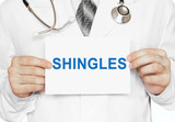 Shingles card in hands of Medical Doctor