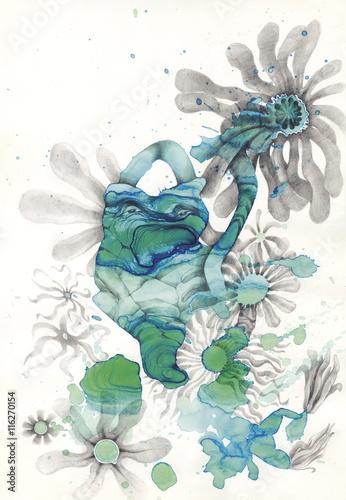 Zdjęcia na płótnie, fototapety, obrazy : Stone and Flowers Illustration