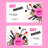 Gift Voucher Card Design Set. Cosmetic Products for Make Up Artist Vector Illustration with Pencil, EyeShadow,Powder,Lipstic,Mascara,Brush. Printable Template for Banner, Poster, Voucher, Booklet.