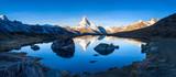 Stellisee und Matterhorn Panorama bei Zermatt, Schweiz