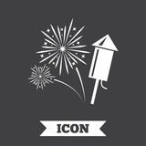 Fireworks sign icon. Explosive pyrotechnic show.