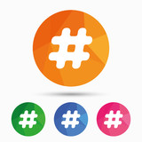 Hashtag sign icon. Social media symbol.