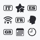 Language icons. IT, ES, FR and GB translation.