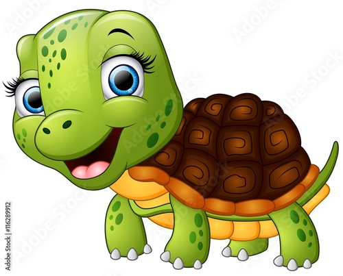 Happy turtle cartoon isolated on white background