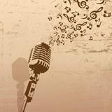 Retro mikrofon z koncepcji muzyki grunge