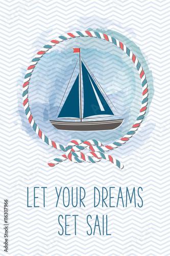 karta-morze-z-zaglowka-liny-wezel-cytat-vintage-ilustracji-wektorowych-morskich-karta-wakacje-lato-z-elementami-projektu-morza-pozwol-swoim-marzeniom-plynac