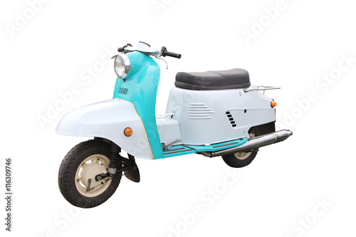 Aluminium Scooter Retro Motorcycle isolated on white background with clipping path