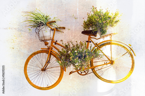 Naklejka charming floral street decoration with old bike. Retro picture