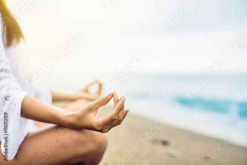 Meditation on the beach плакат