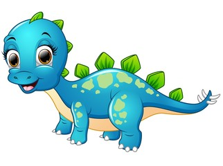Happy blue dinosaur cartoon