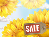 Sunflower with blue sky - autumn sale. EPS 10
