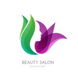 Fototapety Female face on green leaves and lily flower background. Vector logo, label, emblem design elements. Womens profile and tulip flower. Concept for beauty salon, massage, cosmetic and spa.