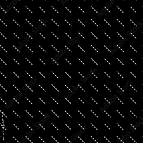 Geometric simple black and white minimalistic pattern, diagonal short lines. Can be used as wallpaper, background or texture. - 116328327
