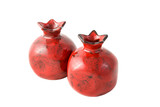 Two ceramic pomegranates. Isolated