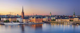 Stockholm.Panoramic image of Stockholm, Sweden during sunset.