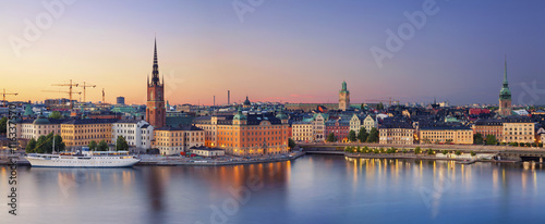 Leinwanddruck Bild Stockholm.Panoramic image of Stockholm, Sweden during sunset.