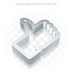 Social media icon: Flat metallic 3d Thumb Up, transparent shadow EPS 10 vector.