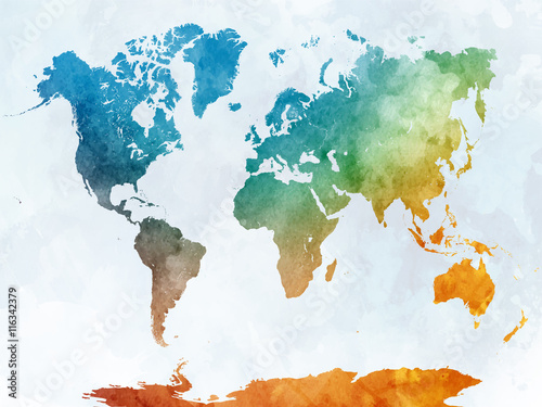 Zdjęcia World map in watercolor