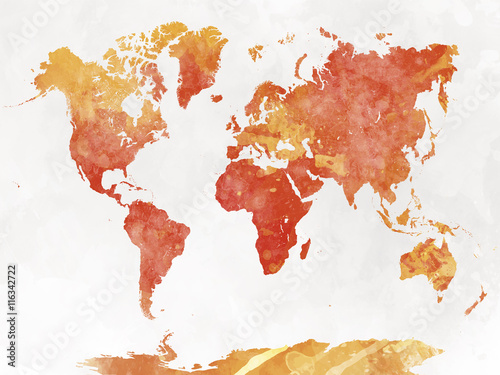 World map in watercolor Canvas