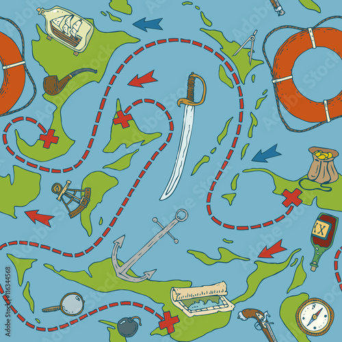 Cotton fabric Pirate Treasure Seamless Pattern
