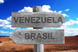 VENEZUELA,BRASIL,LIMITES,FRONTERAS, SEÑAL, MADERA, SEÑALES, CAMPO, VEGETACIÓN, CAMPO ABIERTA