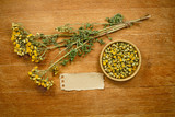 Tansy. Dried. Herbal medicine, phytotherapy medicinal herbs.