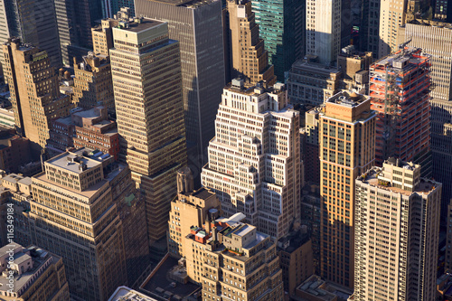 Manhattan cityscape aerial view with urban skyscrapers, New York City