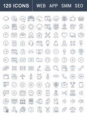 Set Vector Flat Line Icons SEO and Web Design