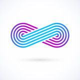 Infinity symbol. Five lines limitless icon vector logo design template.