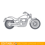 Cruiser motorcycle. Editable vector icon in linear style.