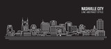 Cityscape Building Line art Vector Illustration design - Nashville city