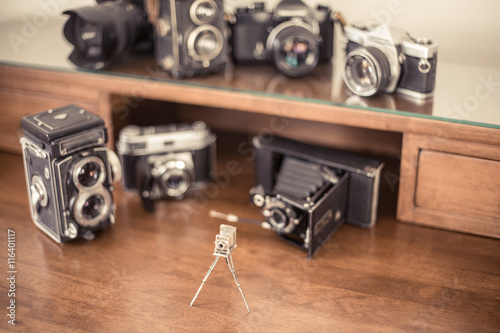 Poster Vintage photo cameras collector desktop
