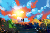 Digital painting couples stood watching sunsets. The natural beauty