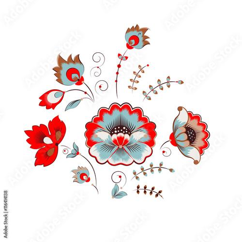 Naklejka Russian peony ornament
