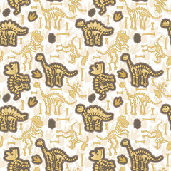 Seamless, Tileable Vector Pattern with Dinosaur Bones and Fossils