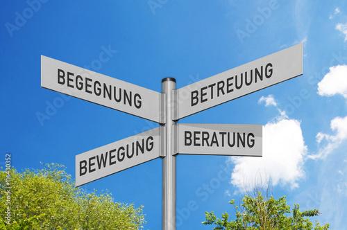 Wegweiser Arbeitsgemeinschaft-Selbsthilfe Begegnung, Bewegung, Betreuung und Be Poster