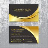 Fototapety vector Creative leaf business card gold and black design of text