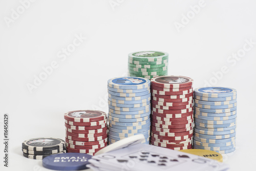 Poster Poker dealer chips,playing card  and poker chips stack