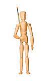 Wooden model dummy holding brush