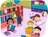 Fototapety Stickman Kids Reading Time Preschool