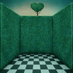 Background for illustration or poster with green walls and tree heart