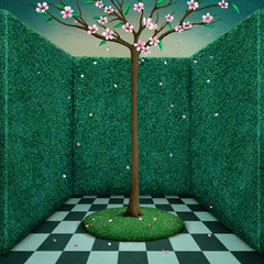 Fantasy tale illustration or poster green room and Tree