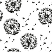 Dandelion and seeds blowing in the wind seamless pattern