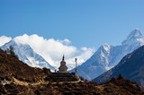 Buddhist stupa with Ama Dablam
