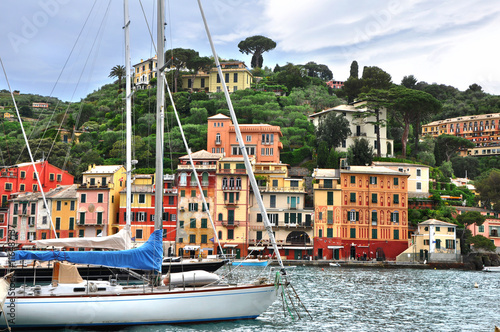 In de dag Milan The beautiful city Portofino with colorful houses in a small luxury harbor with boats